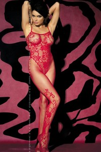 Exkluzív cicaruha, bodystocking F205, red S/M