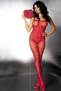 Exkluzív cicaruha, bodystocking G304, red S/M