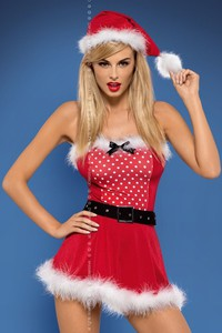 Tökéletes karácsonyi fehérnemű választás a 4 részes szexi mikulás fehérnemű szett, melynek tartalma a dressz...